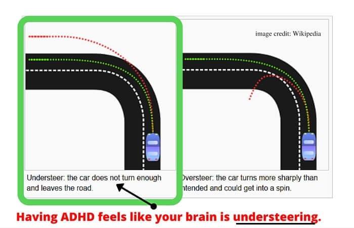 having adhd feels like your brain is understeering