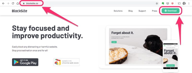 use blocksite chrome extension to avoid distraction
